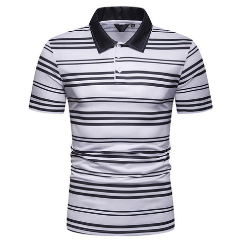 Men's Colour Stripe Slipped Collar Polo Casual T-Shirt