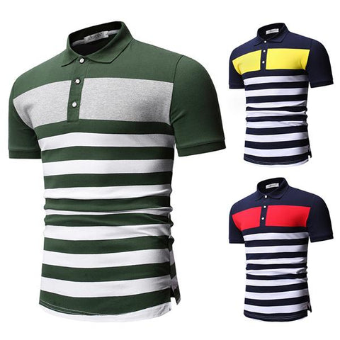 Gentleman Fashion Colorblock Striped Lapel T-Shirt