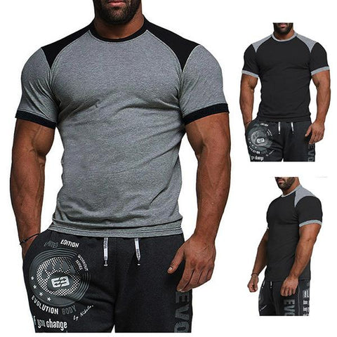 Men's Fashion Colorbolck Cotton Sports T-Shirt