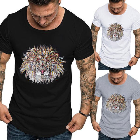 Men's Fashion Lion Print Short Sleeve T-Shirt