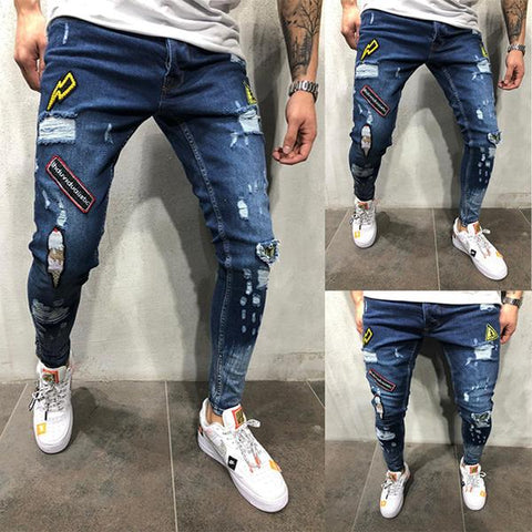 Men's Fashion Slim-Fit Ripped Jeans