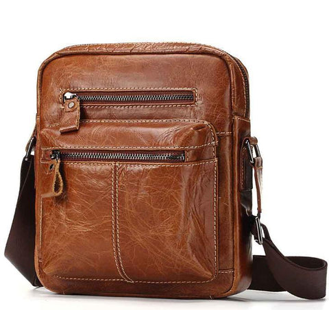 Casual Messenger Bag Men's Vertical Cow Leather Bag