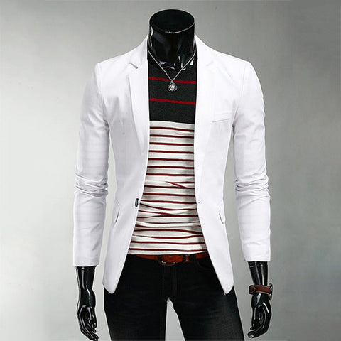 Men Fashion Blazer Slim Fit Suit Coat Business Casual Outwear