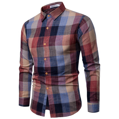 Fashion Trend Plaid Casual Slim Shirt