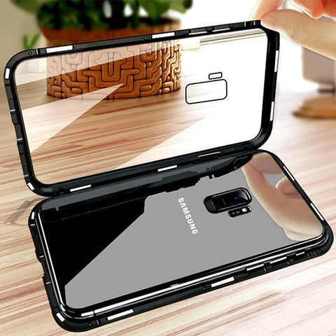 Tempered Glass Back Metal Flip Cases Magnetic Adsorption Phone Case For Samsung