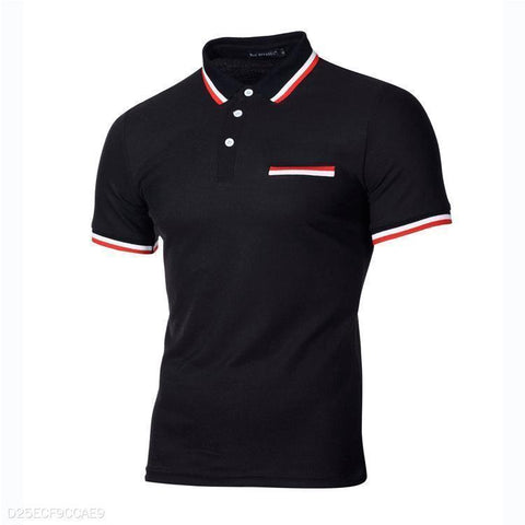 Fashion Split Joint Slim Fit Business Polo Shirt