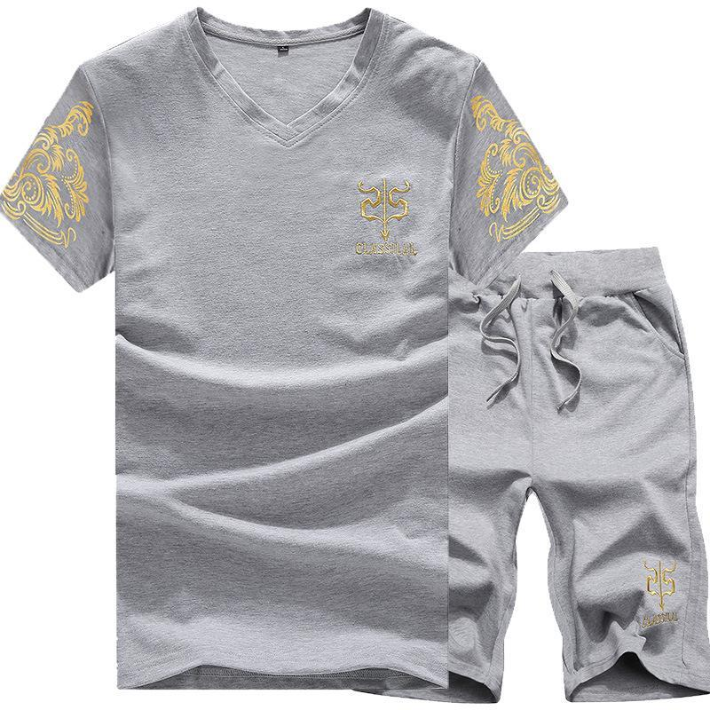 Men's Sports Print Casual Short Sleeve Two-Piece Set