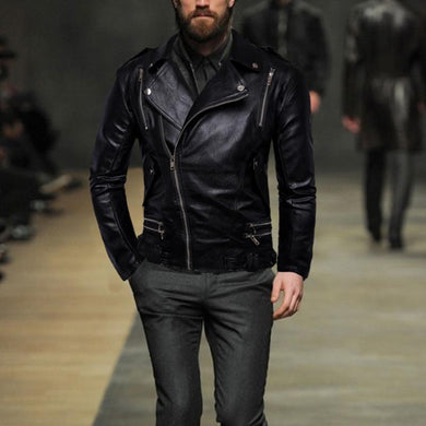 Men's Lapel Multi Zip Leather Jacket