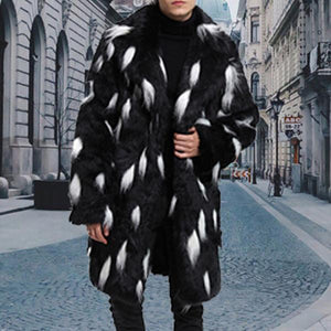 Fashion Faux Fur Suit Collar Long Fur Coat Male