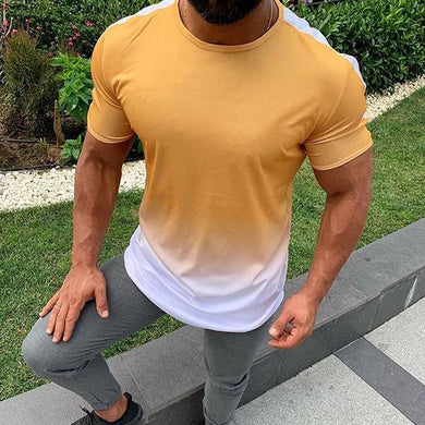 Casual Simple Gradual Change Round Neck T-Shirt