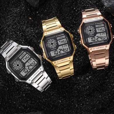 Square Business Waterproof Multifunction Sports Electronic Watch Men