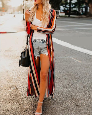 Color Stripe Positioning Printed Chiffon Cardigan
