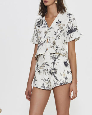 V-Neck Printed Shorts Short Sleeve Suit
