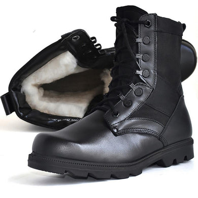 Men's tactical boots outdoor leather plus velvet boots