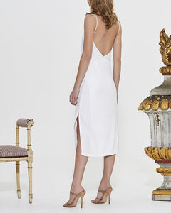 Sling Strapless Back Belt Linen Dress