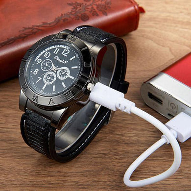 USB Lighter Men's Casual Quartz Wristwatches