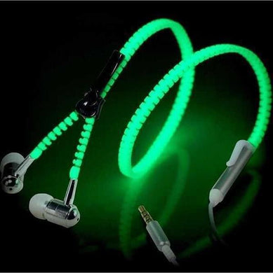 3.5Mm Earphones Luminous Headphones With Microphone Metal Zipper