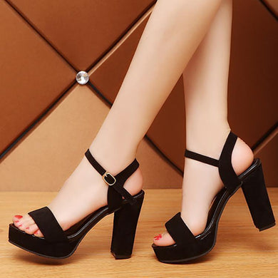 Fashion Pure Color Buckle Thick Heels Sandals