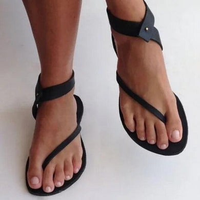Black Sandals Flip Flops Flat Loafers Ankle Wrap Shoes