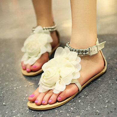 Bohemian Lace Flower Beaded Flat Sandals