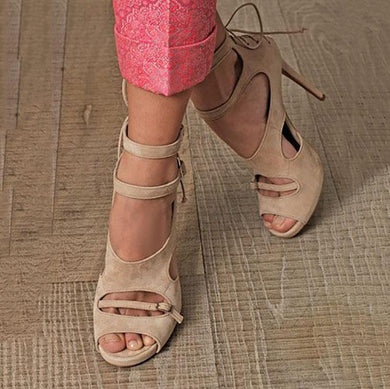 Suede Cutout Back Cross Straps Fashion High Heel Sandals