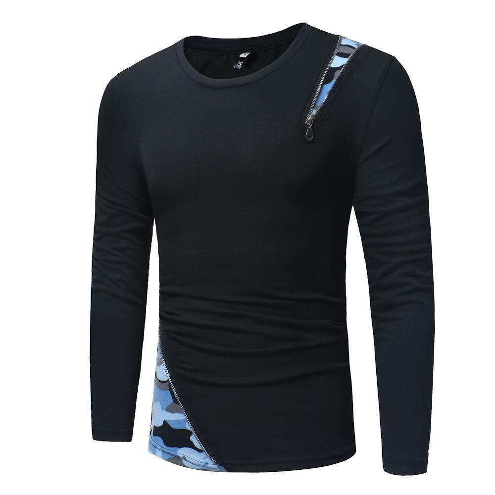 Zipper Stitching Camouflage Long Sleeve