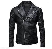 Load image into Gallery viewer, Lapel Locomotive Leather Jacket Black&White