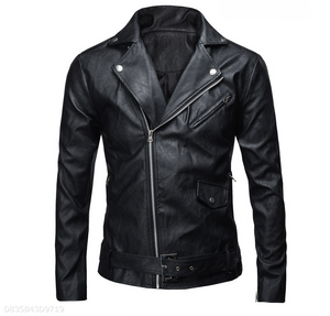 Lapel Locomotive Leather Jacket Black&White