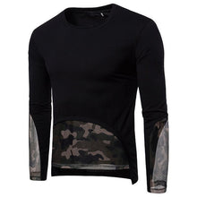 Load image into Gallery viewer, Camouflage Mesh Hem Stitching T-Shirt