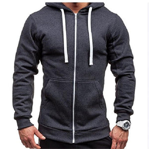 Fashion Youth Casual Loose Plain Zipper Long Sleeve Sport Hoodie