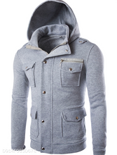 Load image into Gallery viewer, Solid Color Multi-Pocket Hoodie