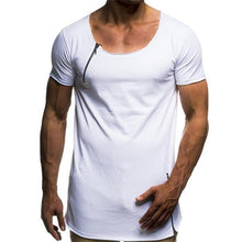 Load image into Gallery viewer, Fashion Casual Youth Loose Plain Zipper Short Sleeve Short T-shirts