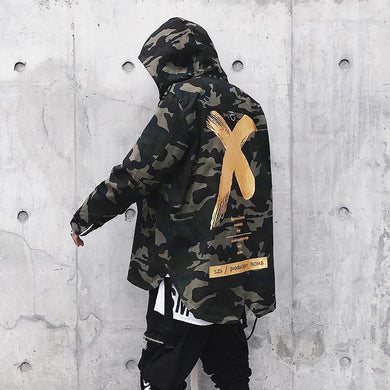 Men Street Ribbon Patchwork Cotton Camouflage Coat