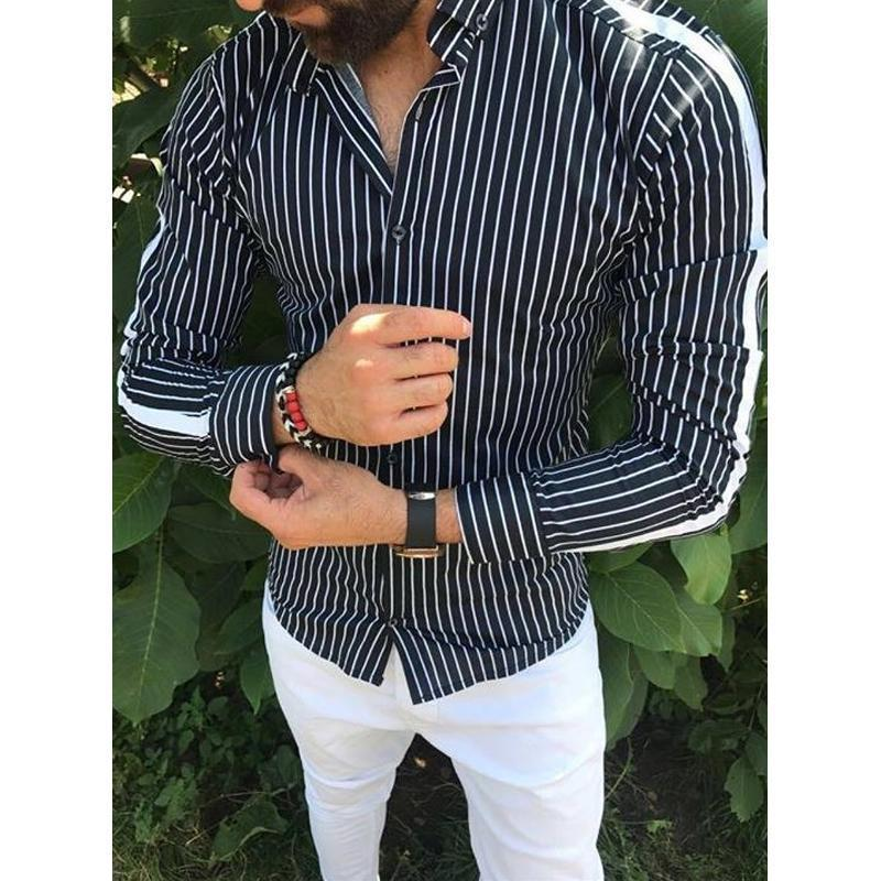 Mens Loose Cotton Blend Striped Shirt