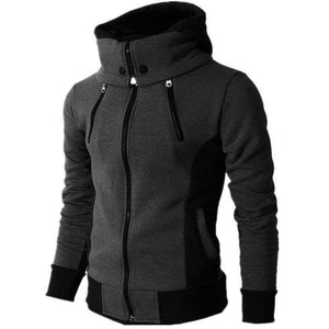 Casual Youth Fashion Slim Color Block Long Sleeve High Collar Men Outerwear