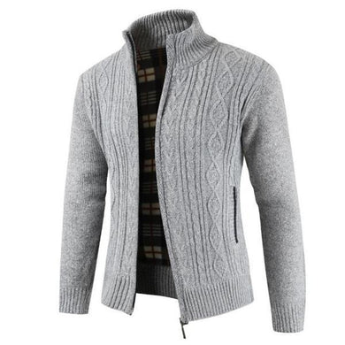 Casual Youth Fashion Thermal Zipper High Collar Long Sleeve Men Jacket Outerwear