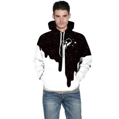 Popular Fashion Loose Print Long Sleeve Men Hoodie
