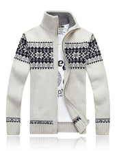 Load image into Gallery viewer, Jacquard Slim Collar Knit Casual Jacket Male