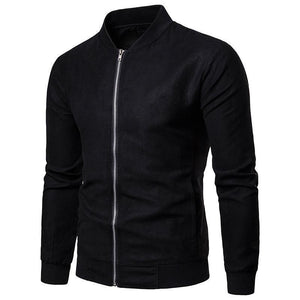 Fashion Lapel Collar Plain Slim Zipper Jacket