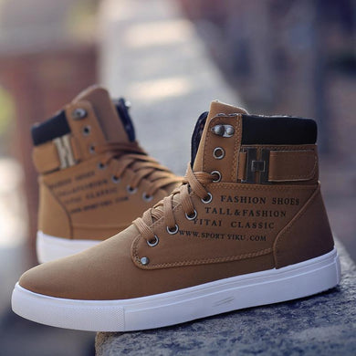 2019 Leather High Top Casual Boots