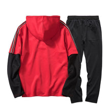 Load image into Gallery viewer, Casual Color Blocking Plan Loose Hoodie Pants Suit