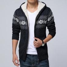 Load image into Gallery viewer, Men Printing Knitted Plus Thick Velvet Sweater