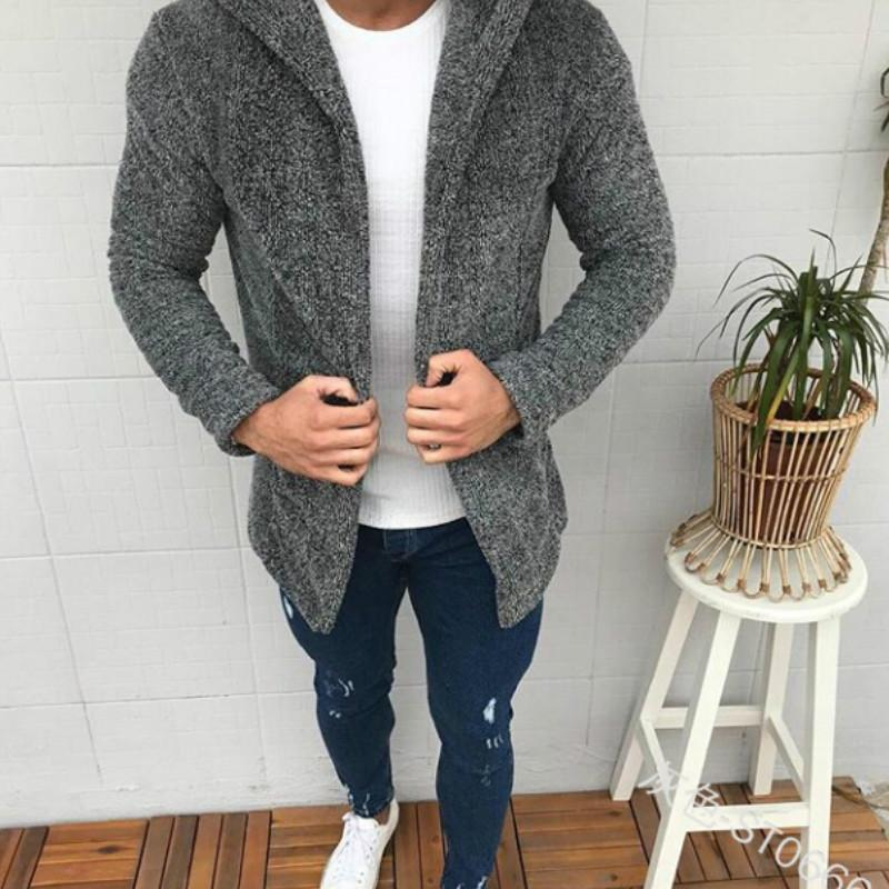 Casual Fashion Long Sleeves Plain Hooded Zipper Jacket