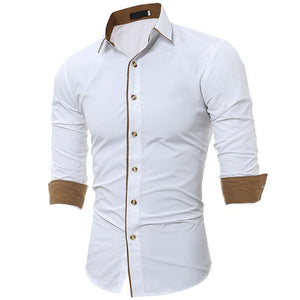 Business Casual Solid Color Slim Shirt
