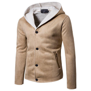 Lamb Hair Mink Basic Solid Color Hooded Coat