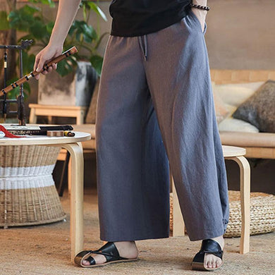 Summer Cotton And Linen Loose Wide-Leg Pants Pants Men's Linen Buckle Big Pants