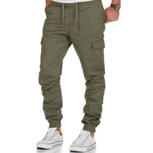Load image into Gallery viewer, Man's Bandage Waist Elastic Hem Casual Pockets Pants