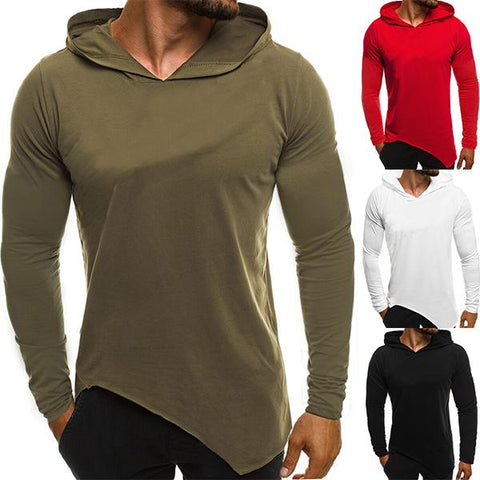 Men's Fashion Solid Color Irregular Hem Hoodie