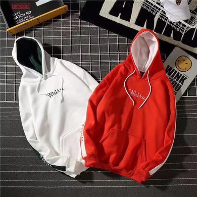 Plus Velvet Letters Embroidered Couple Hoodies