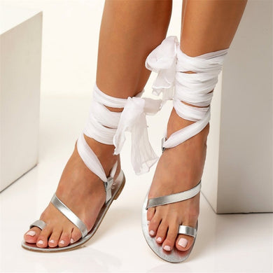Fashion Toe Roman Style Ribbon Sandals